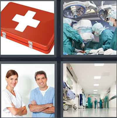 A First Aid kit, A surgery room, Two people in scrubs, The hallway of a hospital
