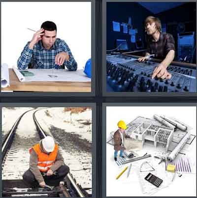 A person sitting a desk with a pencil, A person using a music bored with knobs, A man in an orange vest and white helmet fixing a railroad track, A man with a yellow helmet and rulers and pencils around him